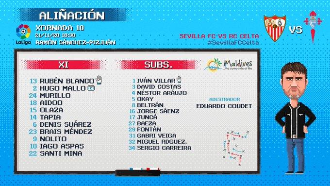 EnXFp-rWEAIwdND?format=jpg&name=small Alineaciones oficiales del Sevilla-Celta - Comunio-Biwenger