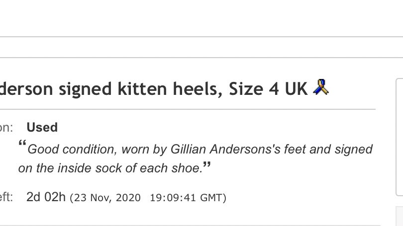 """@GillianA @DuneLondonHelp @SmallStepsDocs """"Worn by Gillian Anderson's feet"""" got me 😂  Are you sure you never wore them on your hands?  But seriously, thank you again for all you do for multiple charities. If you ever need to get rid of old coffee mugs, my DMs are open."""
