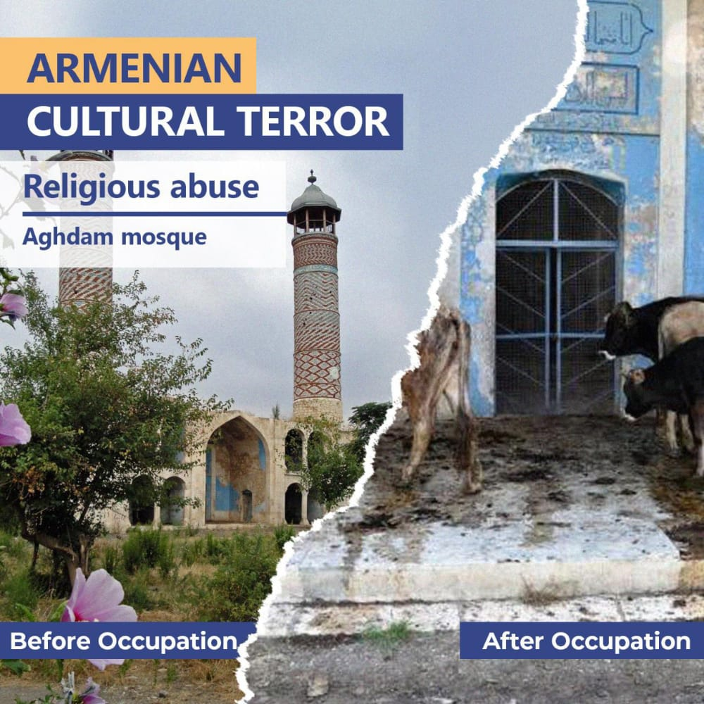 Aghdam mosque was built in 1868–1870 by the leading artist of Karabakh Karbalai Safi Khan Garabaghi. With the Armenian occupation (1993) mosque has been used as a stable. @UNESCO #culturalterror