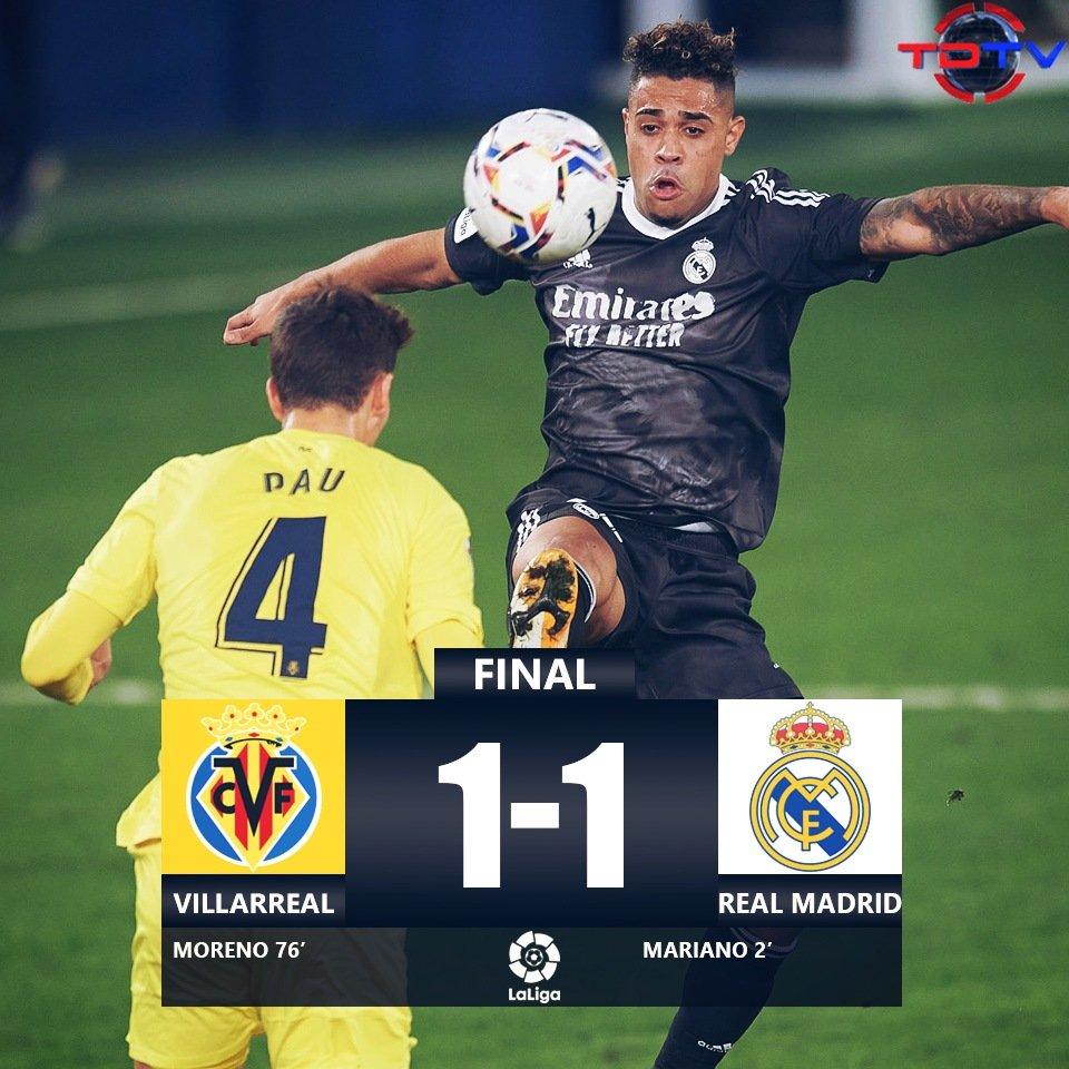 ¡Empate del Madrid!😬  Un Real Madrid plagado de lesiones, empató contra el Villarreal en el Estadio de La Cerámica.  El próximo partido del Madrid es contra el Inter por la Champions🤩 https://t.co/ao5TmLus3P