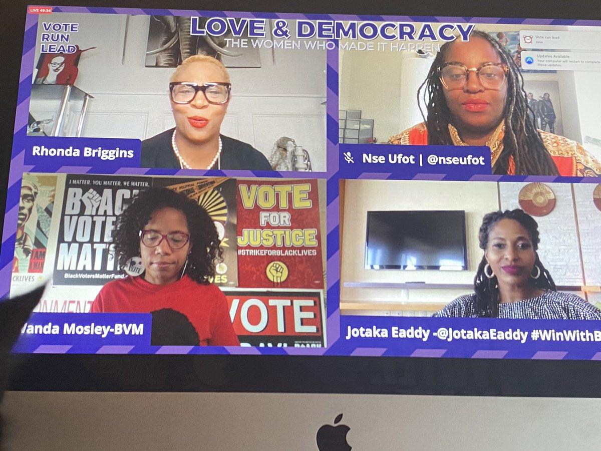 So honored 2 share virtual space w/my @dstinc1913 sorors @rbriggins @JotakaEaddy @nseufot for the @VoteRunLead Love & Democracy 🤎✊🏾 s/o to @MsLaToshaBrown @staceyabrams @JessicaLBYRD @Oprah @OWNYourVote and so many Black women I love & admire!! #BlackWomenLead #BlackVotersMatter