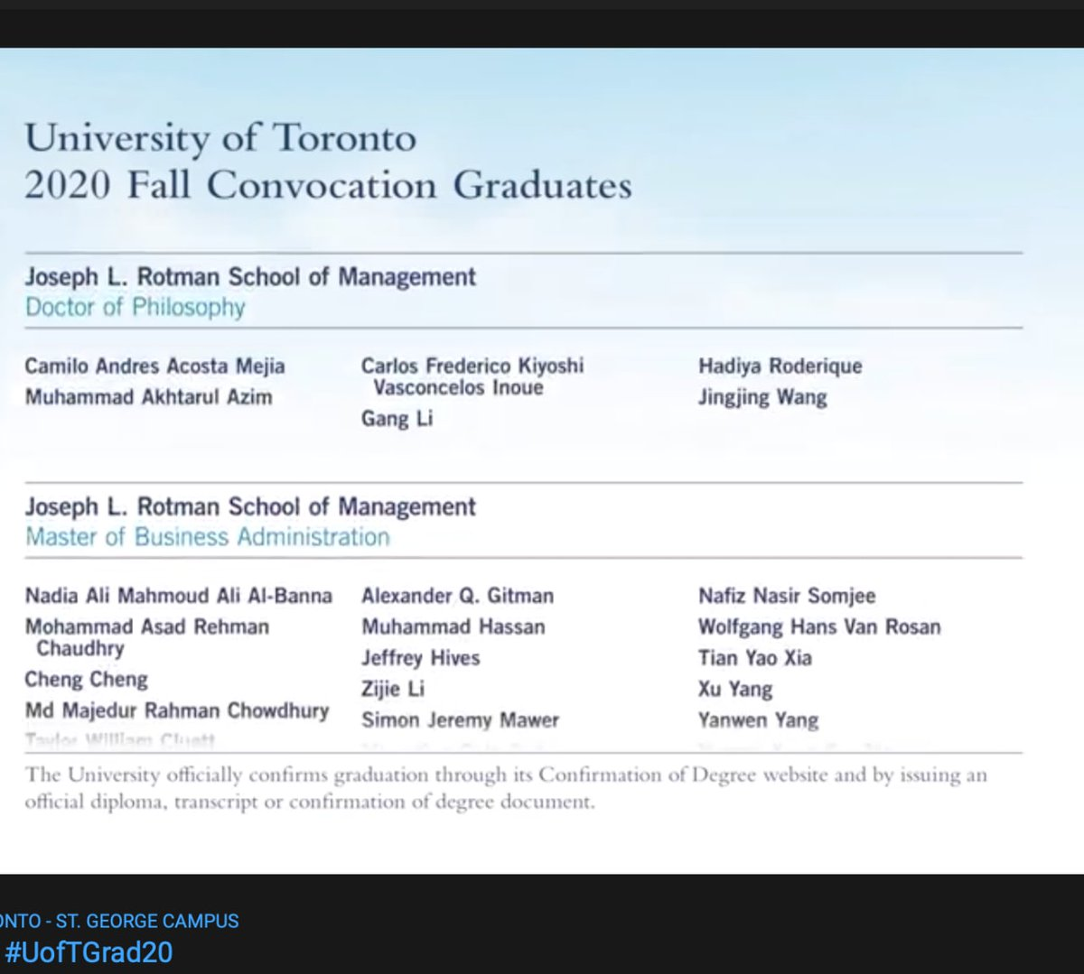 Replying to @Cacostam: Finally graduating from @rotmanschool @UofT. Hopefully my diploma makes it all the way to Colombia
