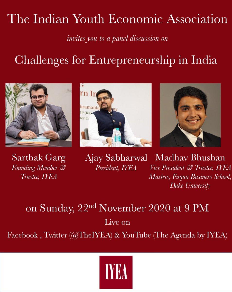 Join us at 9 PM as our Trustees, Ajay Sabharwal, Madhav Bhushan @MadhavBBhushan and Sarthak Garg @sarthakgrg2 discuss economic freedoms and challenges to entrepreneurship in India.