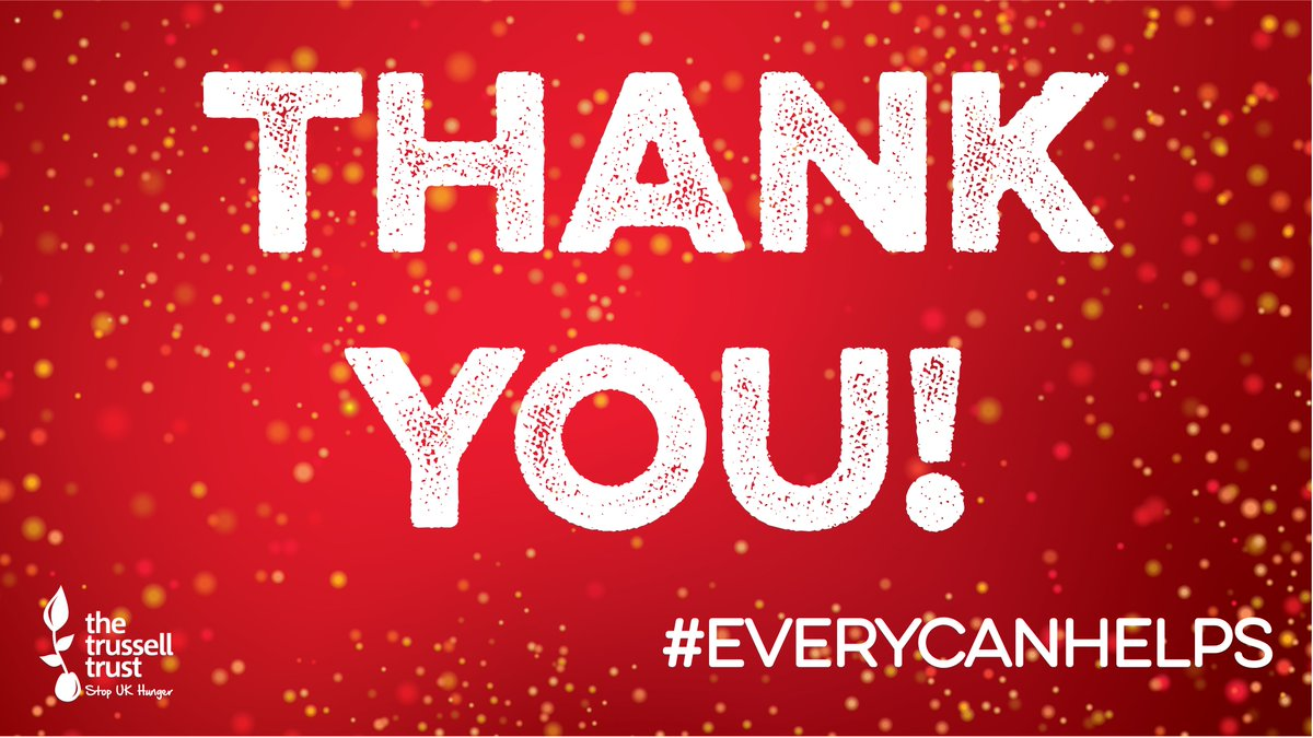 As this year's @Tesco Food Collection draws to an end, we'd like to thank everyone involved for their support. Your help means #foodbanks will be able to get vital emergency food to people in the lead up to this Christmas – thank you so much #EveryCanHelps >