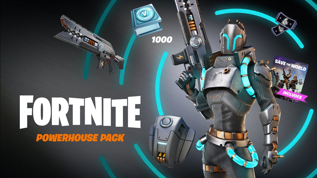 Gear up with #SavetheWorld's newest Vindertech Hero, Powerhouse! Included in the Pack: -Access to Save the World -Powerhouse Hero and Back Bling -Lectro Shock Weapon Schematic -Powerhouse Challenges with up to 1,000 V-Bucks and more in rewards.