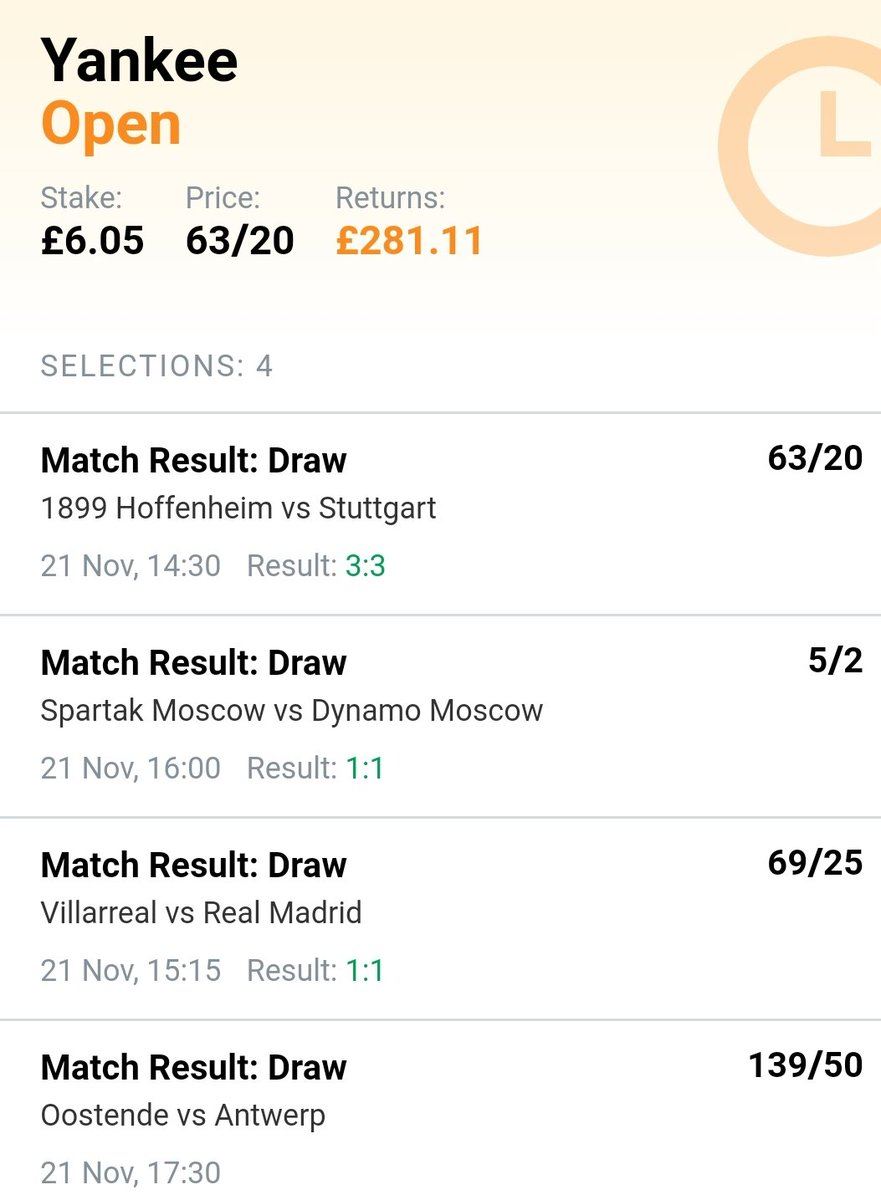 £53.85 banked with 3 draws up already 👌🏻 Its currently 0-0 in Belgium 🇧🇪 between Oostende & Antwerp 🙏🏻 #PrayForTheIron https://t.co/PDEStImwPU