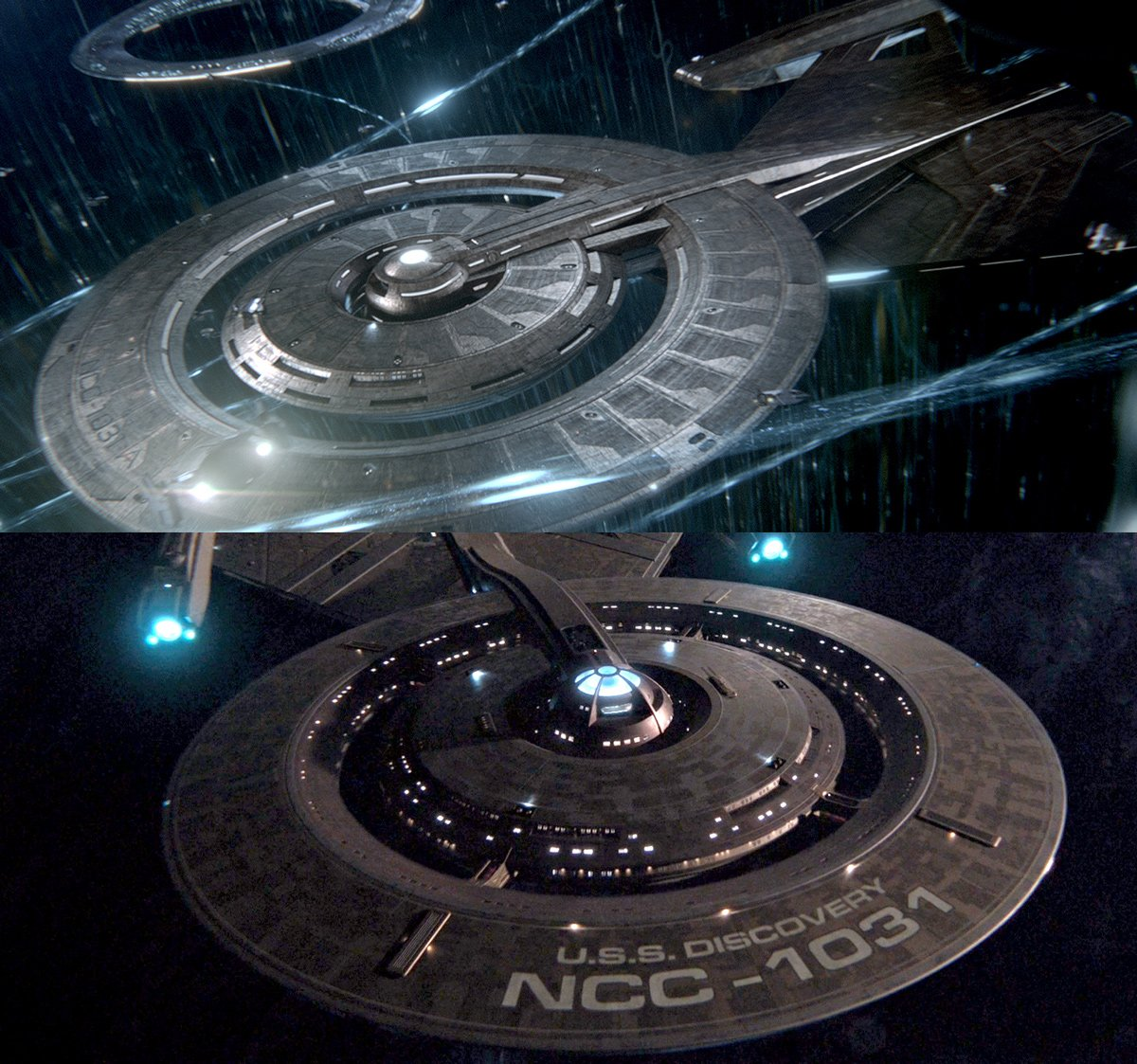 The Discovery gets a host of 32nd century upgrades: enough to justify a new registry number (NCC-1031-A!) to signify the major changes — as well as to potentially hide the ship's time-travel history (banned by the Temporal Accords).  #StarTrek #StarTrekDiscovery https://t.co/KC7i9nashe