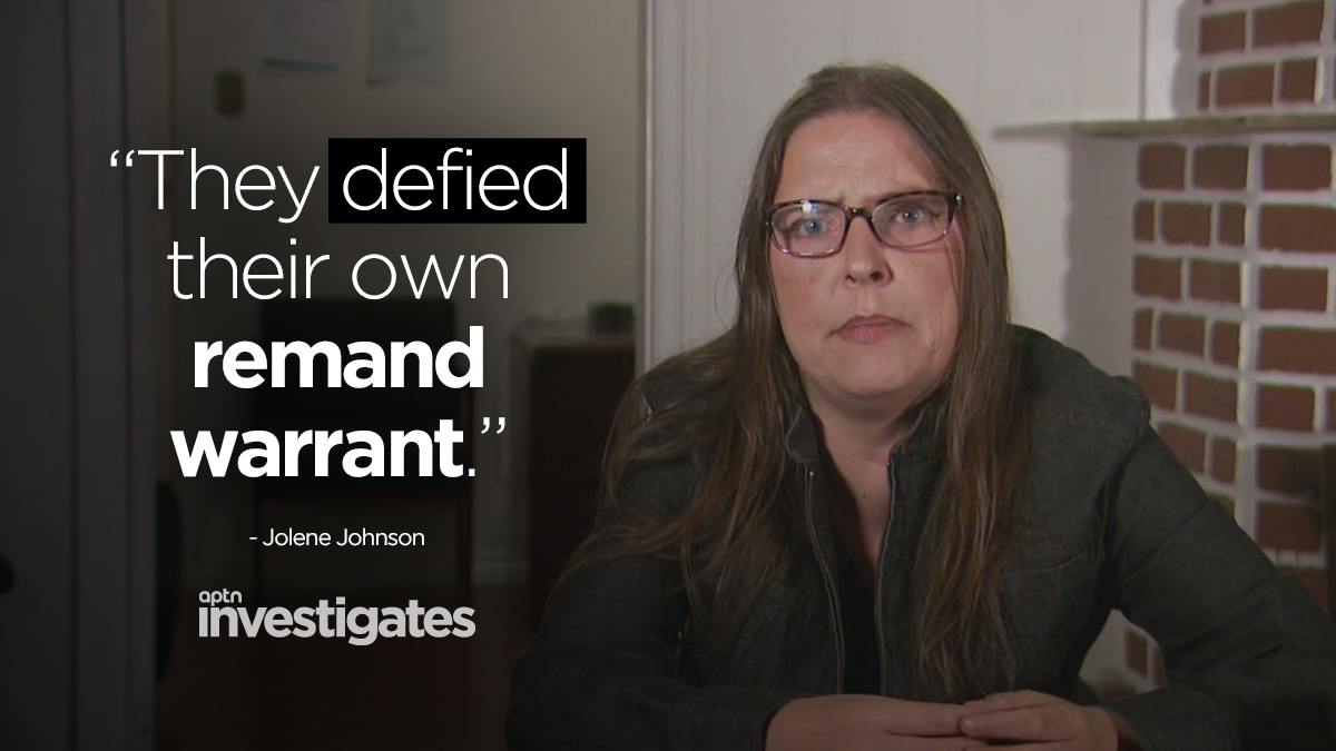 Jolene Johnson, a private investigator looking into the convictions of Nerissa and Odelia Quewezance takes issue with the fact that the police ignored a court order and instead kept them in cells. APTN Investigates: A Life Sentence - Watch: aptnnews.ca/investigates/a…