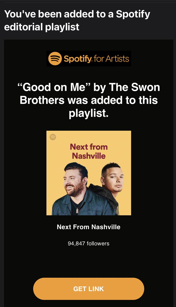 """Wow this is crazy!! Our song """"Good On Me"""" was added to @Spotify playlist #NextFromNashville click here to listen"""