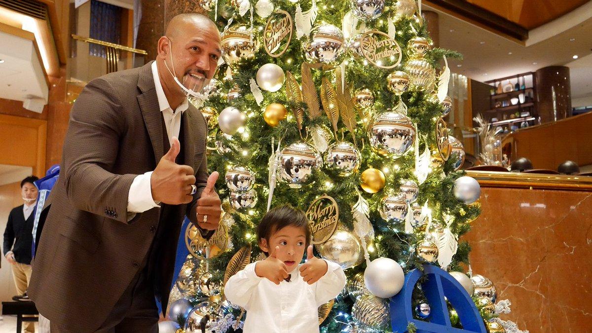 アレックス・ラミレスさんファミリーが横浜ベイシェラトンのクリスマスツリーを点灯✨チャリティーオークションも開催。#yokohama #横浜 #baystars #ラミちゃん
