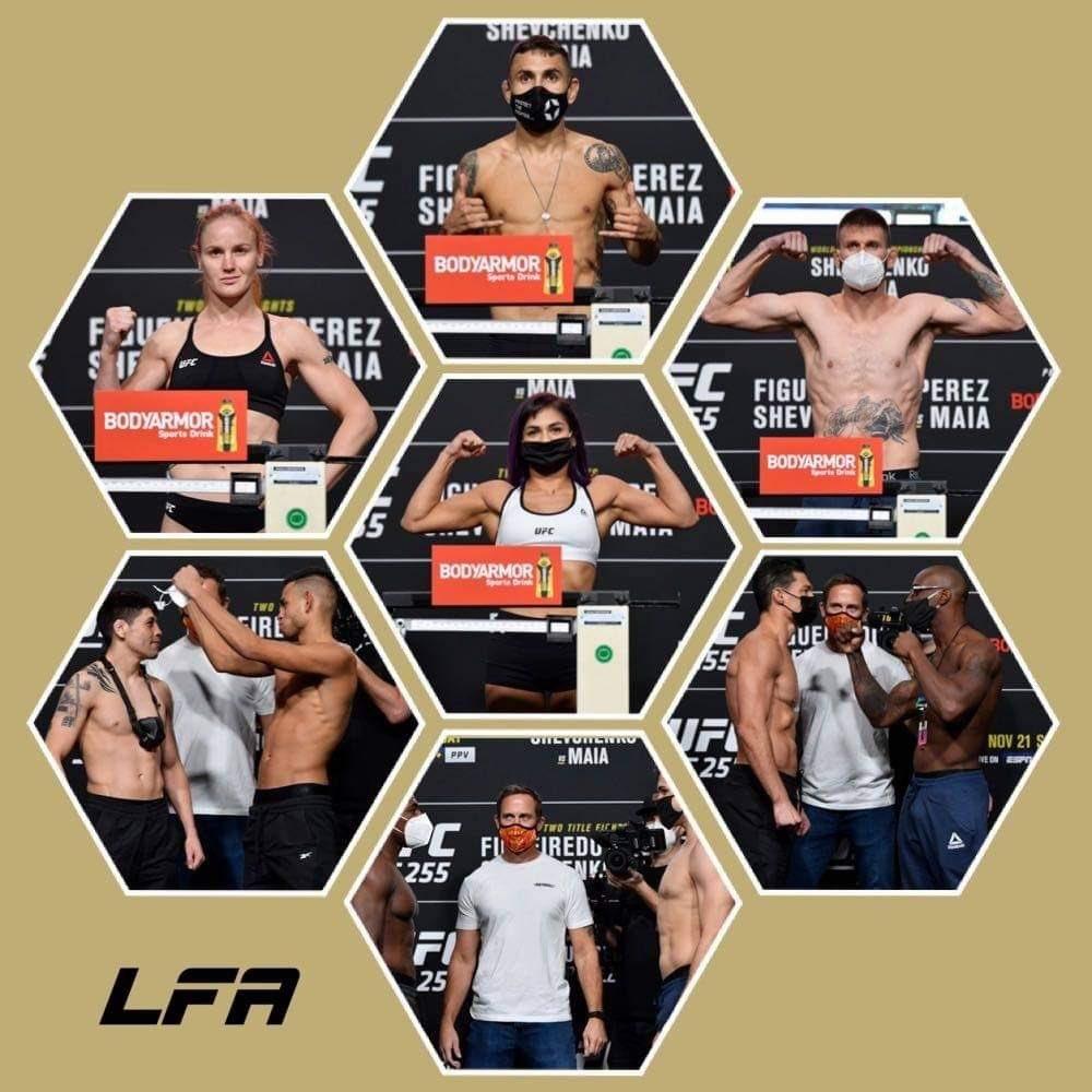 Good luck to these @LFAfighting, @RFAfighting + @LegacyFighting greats!  @AlexPerezMMA  @BulletValentina  @MeansTim  @Cyn_Calvillo  @TheAssassinBaby  @BrandonRoyval  @NewMansa94  #JordanWright  @AlanJouban  @JGNiteTrain23  #MMA #UFC255 #LFANation https://t.co/uRVxVu6fVS