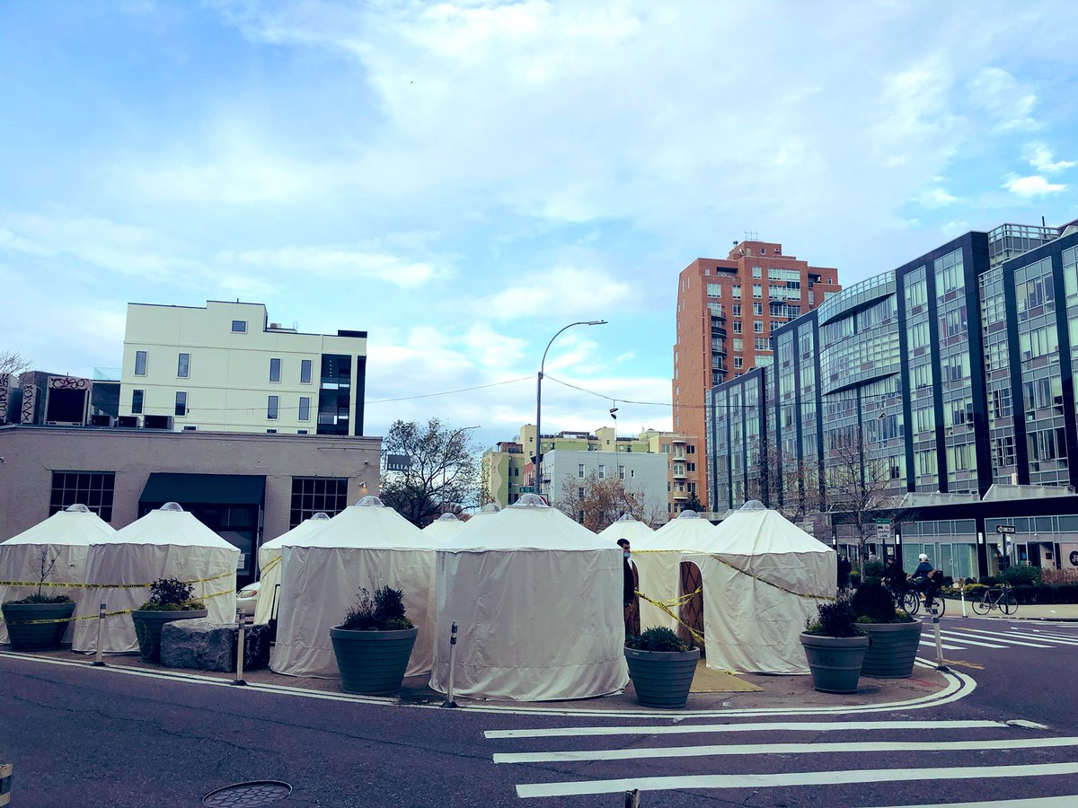 Our fave outdoor restaurant appears to be constructing... dining yurts??