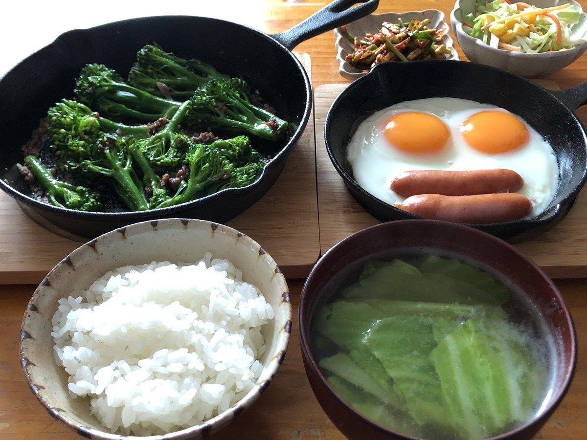 休日朝ごはんスティックブロッコリーのアンチョビ炒め、自家製キャベツの味噌汁妻と息子が起きてくるまでのひとり時間です