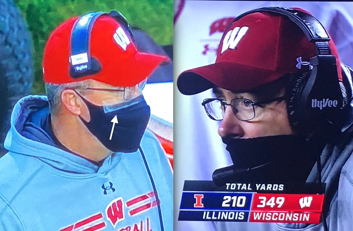 Glad to see @BadgerFootball Head Coach @PaulChrystWISC found a mask solution!  #OnWisconsin   @NUFBFamily #GoCats   #WearAMask #BandaidMask  Pre-photo (Right) credit to @darrenrovell's twitter