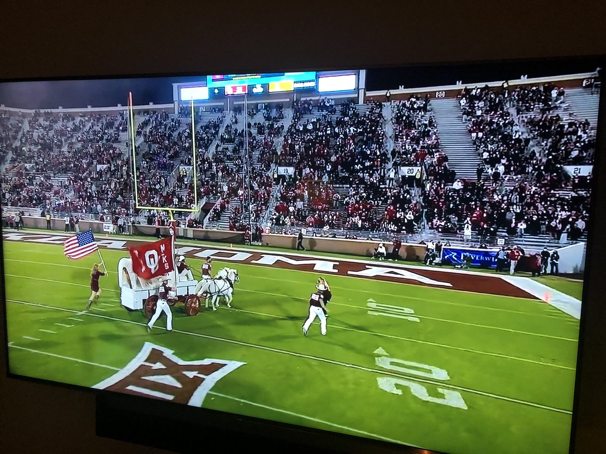 Good to see they don't have to worry about #Covid at the #OKSTvsOU game! That stadium must be 50%+ capacity. No discipline. What a joke.  Compare that to tight protocol at #Alabama or #WISvsNW