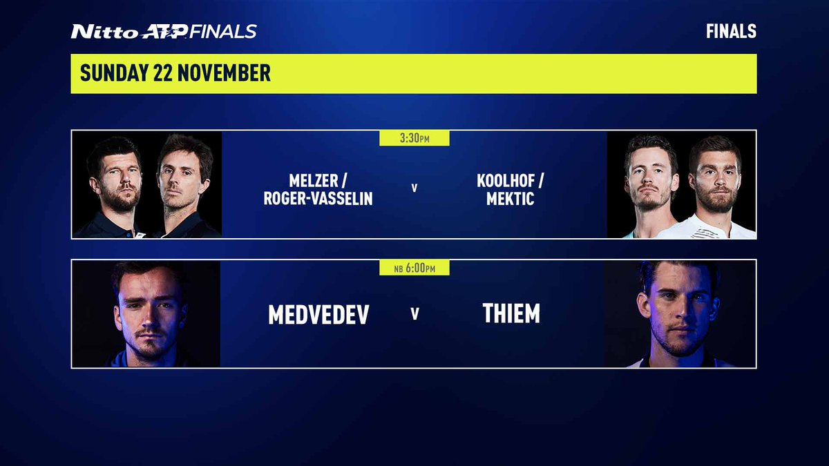 A pair of matches worthy of championship Sunday 😍  #NittoATPFinals https://t.co/LWSNtmLHQY