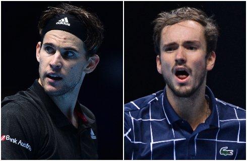 🎾#Deportes | Los jóvenes Dominic Thiem (@ThiemDomi) y Daniil Medvedev (@DaniilMedwed) vencieron a Novak Djokovic y Rafael Nadal, respectivamente, para conseguir su boleto a la final de la Copa de Maestros.  Amplíe aquí esta noticia ➡️https://t.co/dpIy6Tbzjb https://t.co/G7GFtFUzto