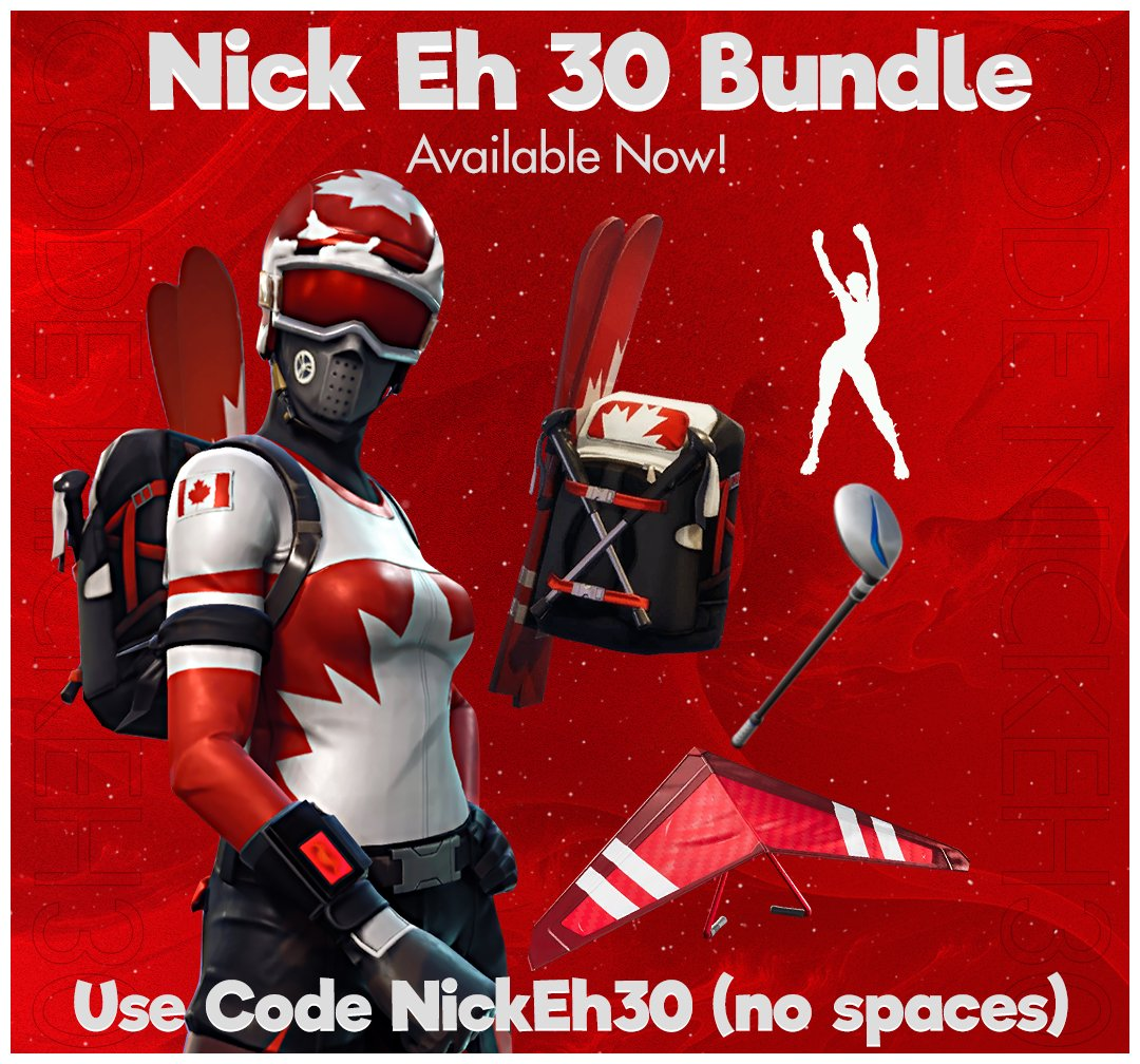 Nick Eh - I have a Nick Eh 30 Bundle in the Fortnite Item Shop!!!!!!  Thank you so much @FortniteGame, @xSUND0WN, @jbirdtweets. Love you guys <3