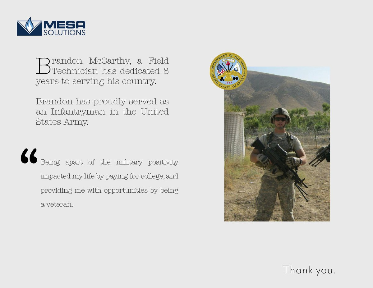 Our next Mesa Military Salute goes to Brandon McCarthy, a Field Technician.  Visit our website () to learn more about our veteran impact.  #MesaMilitarySalute #military #VeteransDay2020