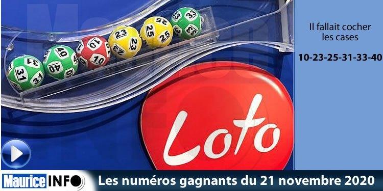Les numéros gagnants du tirage du loto du 21 novembre 2020 sont : 10-23-25-31-33-40 https://t.co/Fi7ILlt9xi https://t.co/5sGpfJy2LO