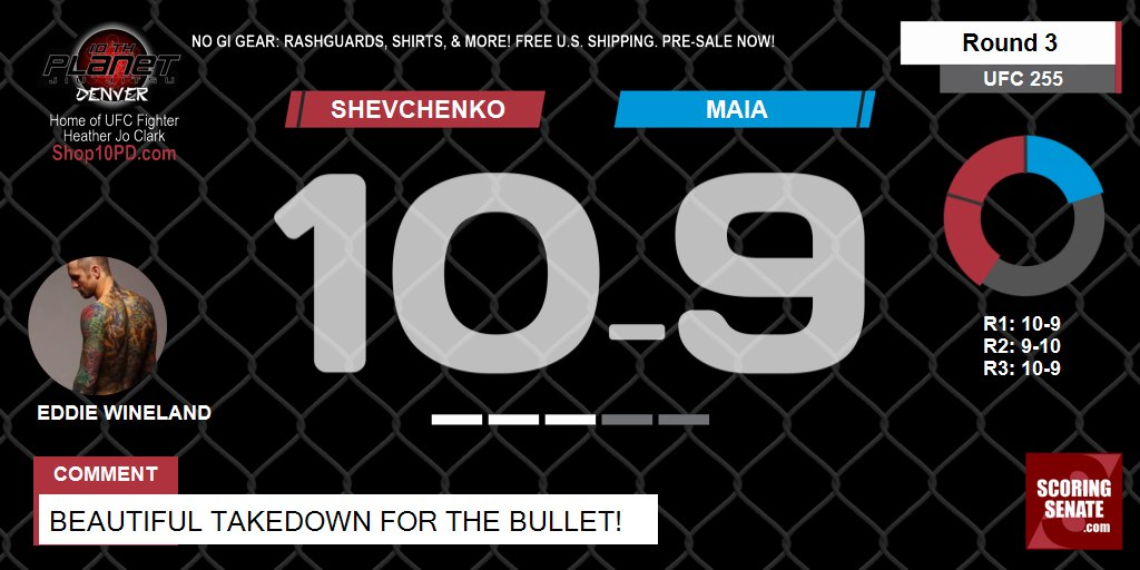 10-9 Shevchenko R3  Beautiful takedown for the bullet!  #UFC255 #ScoringSenate #MMA  Scorecard: https://t.co/PYphoynojx https://t.co/X7ym1RpGC4