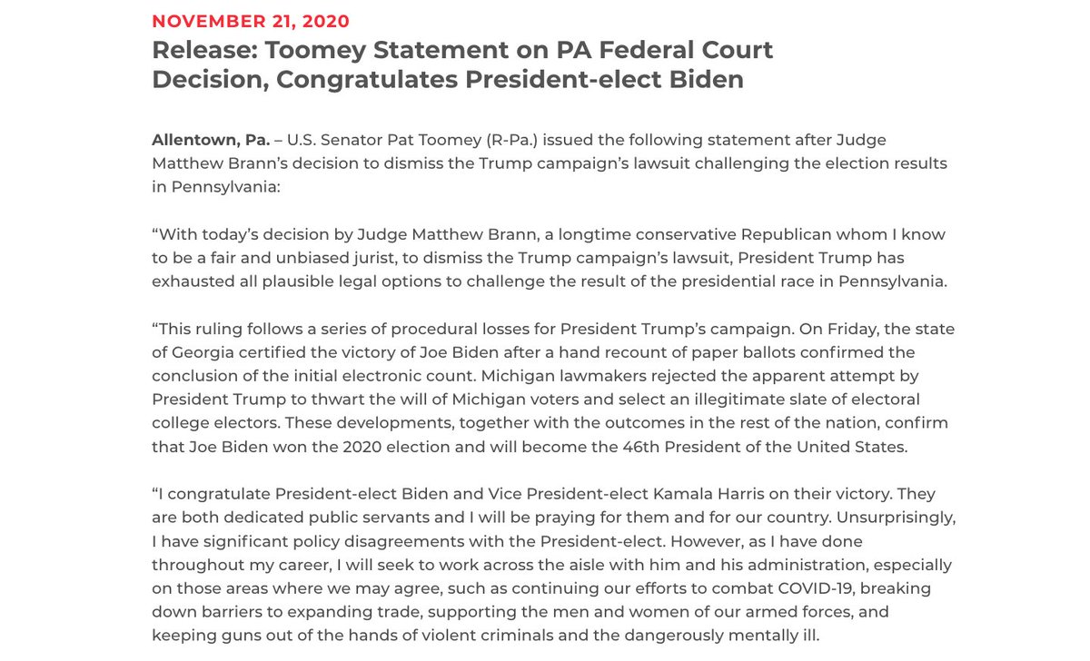 """Pennsylvanias @PatToomey is the 5th Republican senator to congratulate Biden and Harris: """"I congratulate President-elect Biden and Vice President-elect Kamala Harris on their victory. They are both dedicated public servants and I will be praying for them and for our country."""