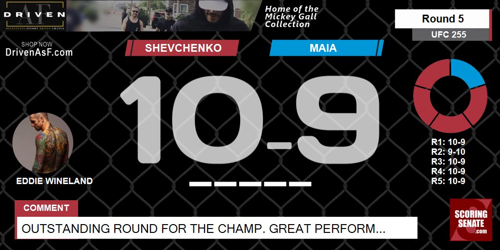 10-9 Shevchenko R5  Outstanding round for the champ. Great performance from both fighters!  #UFC255 #ScoringSenate #MMA  Scorecard: https://t.co/PYphoynojx https://t.co/o1Qjm1h652