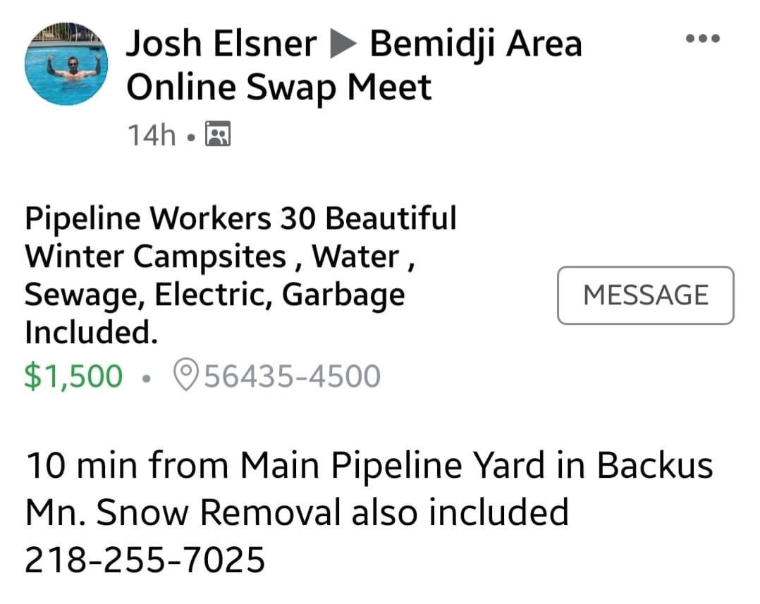 @GovTimWalz @Tim_Walz @LtGovFlanagan thought we were at stay at home during a pandemic 😷 instead we have #mancamps advertised all around for #Enbridge LN3 - it's time to #StopLine3