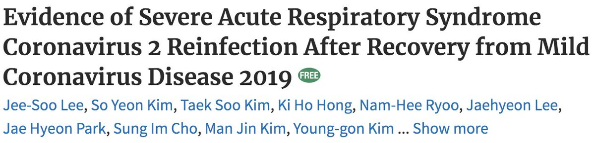 📌REPORT: #SARSCoV2 reinfection just 26 days after initial infection: Patient w/mild #COVID clinically recovered, tested negative, sent home. 6 days after discharge patient reported symptoms again. Genetic sequencing of the virus identified re-infection with a different strain🧵