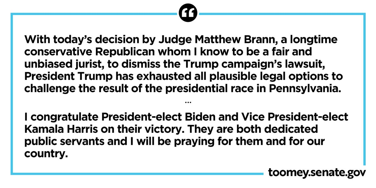 Read my statement on today's Pennsylvania federal court decision, and congratulating President-Elect Biden: toomey.senate.gov/newsroom/press…