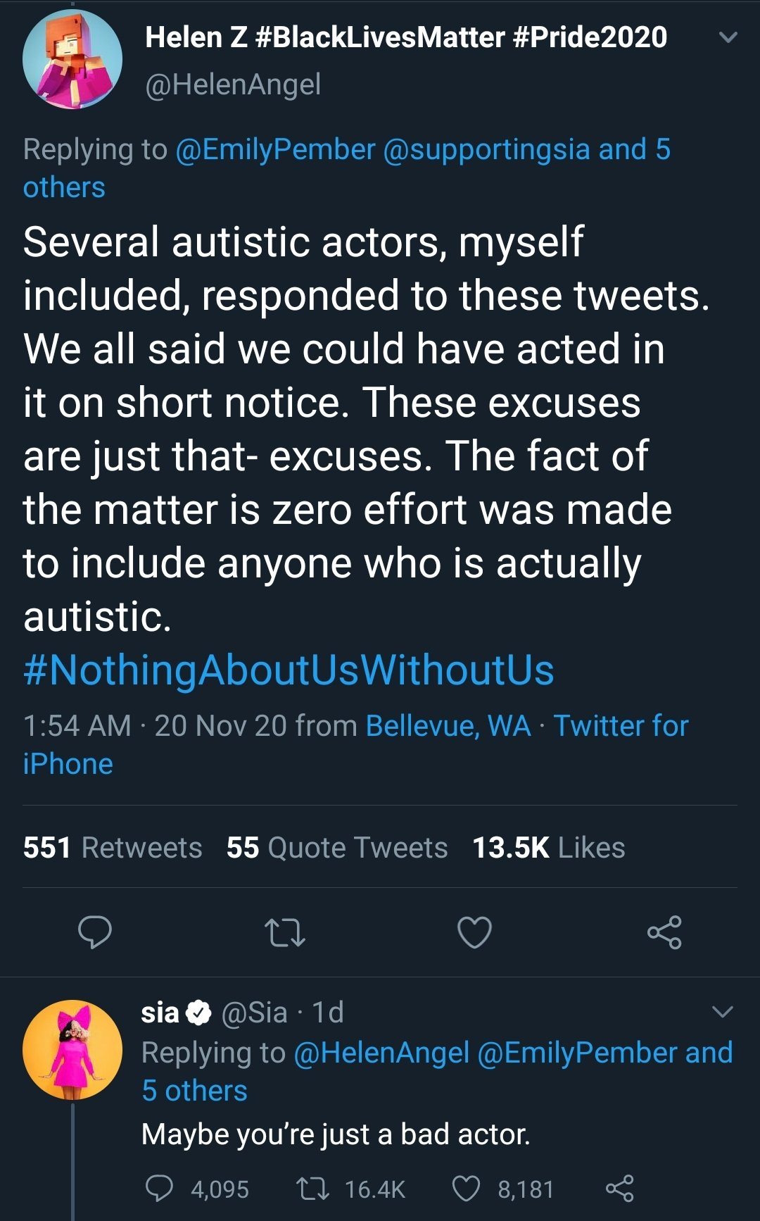 Sia insulted an autistic actress on Twitter