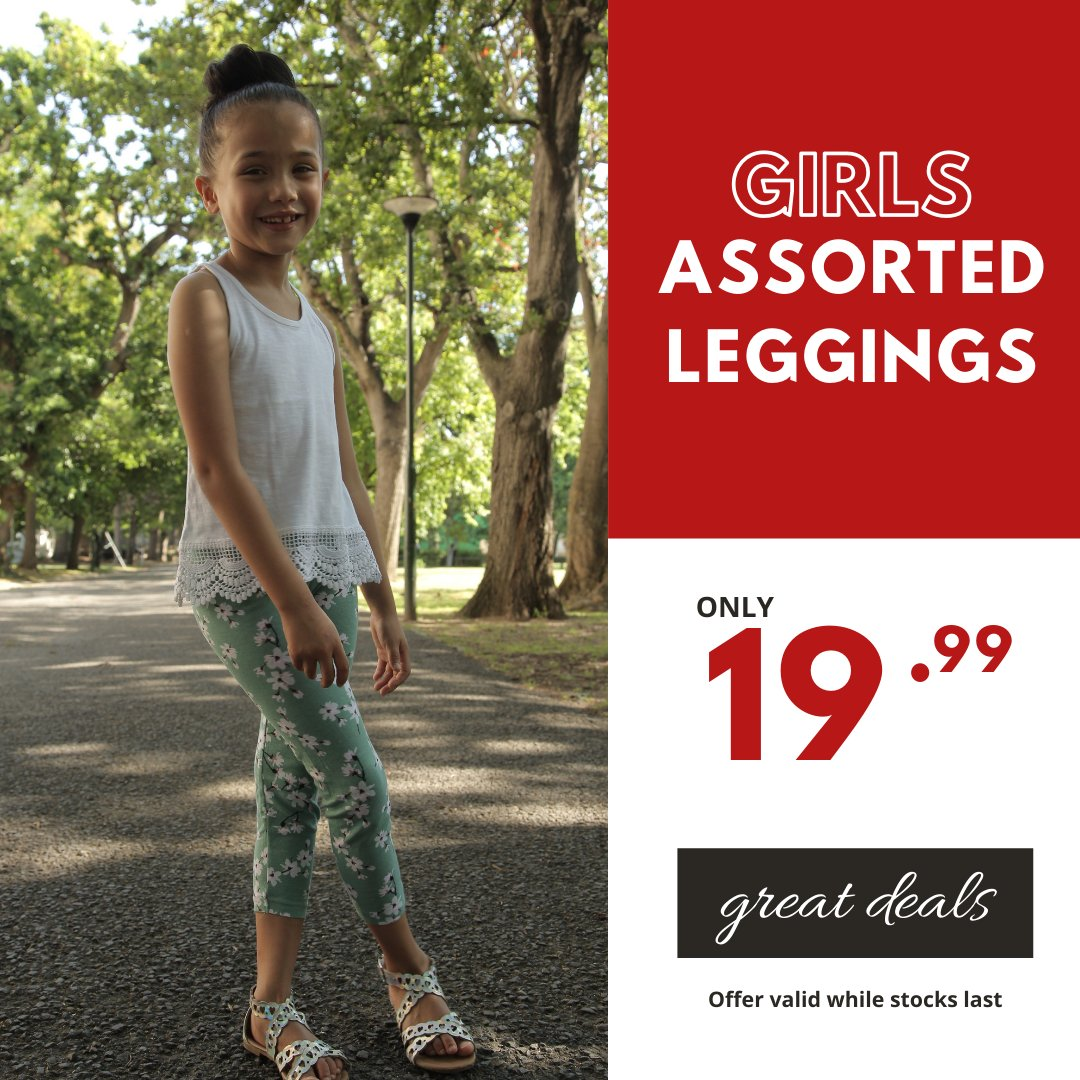 Big deals for little girls.... Girls Assorted Leggings only 19.99 Available in ages 2-8yrs at selected stores #choiceclothing #wearchoice #girlsleggings #girls