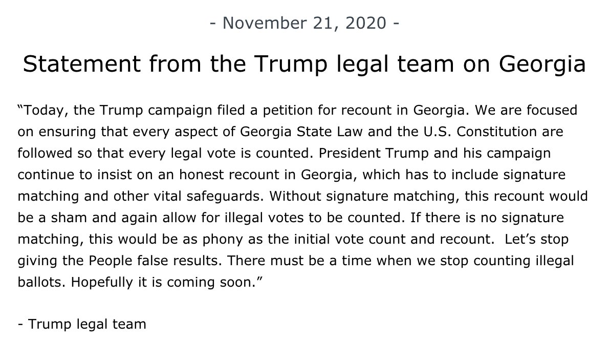 Apparently President Trump wants another recount in Georgia? This just landed in my inbox.