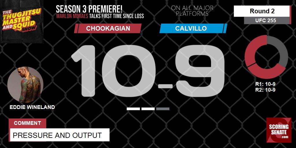 10-9 Chookagian R2  Pressure and output  #UFC255 #ScoringSenate #MMA  Scorecard: https://t.co/PYphoynojx https://t.co/7XKTcqD3z5
