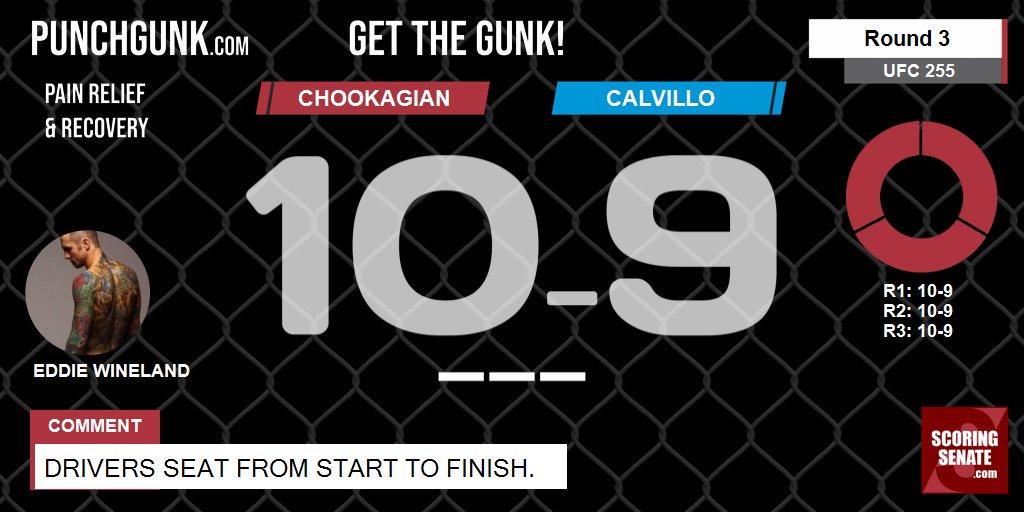 10-9 Chookagian R3  Drivers seat from start to finish.  #UFC255 #ScoringSenate #MMA  Scorecard: https://t.co/PYphoynojx https://t.co/KeZSnQFJkU