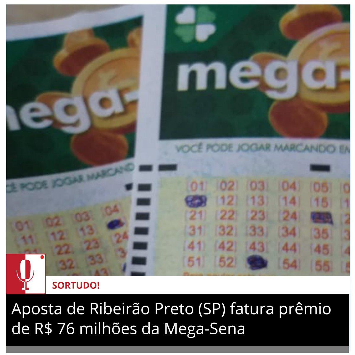 SORTUDO🍀 Uma aposta de Ribeirão Preto (SP) acertou as seis dezenas sorteadas (06-30-35-39-42-48) sorteadas pela Caixa no sábado (21) e vai receber o prêmio de R$ 76.128.023,58 do concurso 2320 da Mega-Sena... https://t.co/HbF7JsqhpQ  #MegaSena #Loterias #Caixa https://t.co/yGloQcahRR