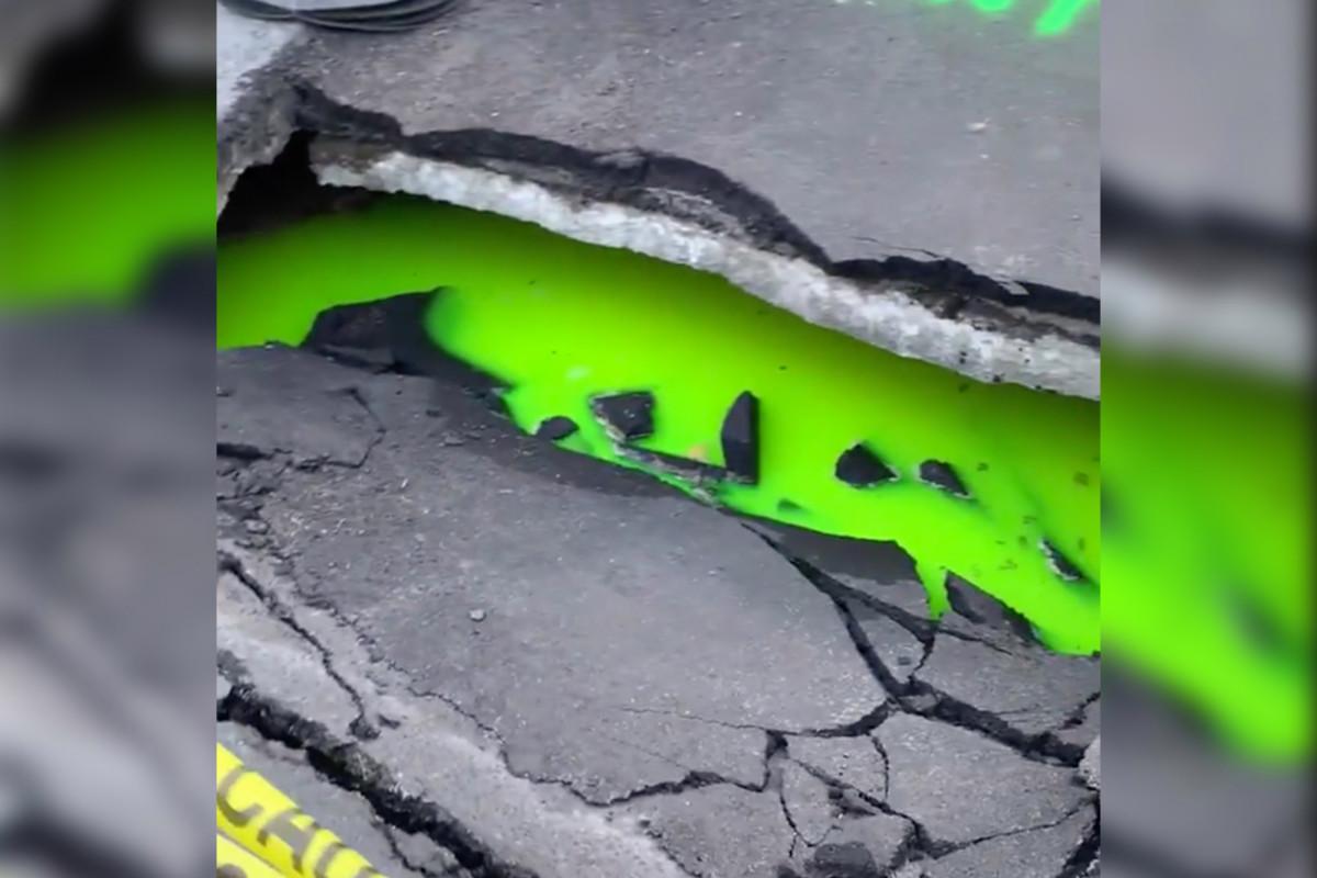 Ninja Turtle-esque green slime sinkhole turns heads in Toronto Photo