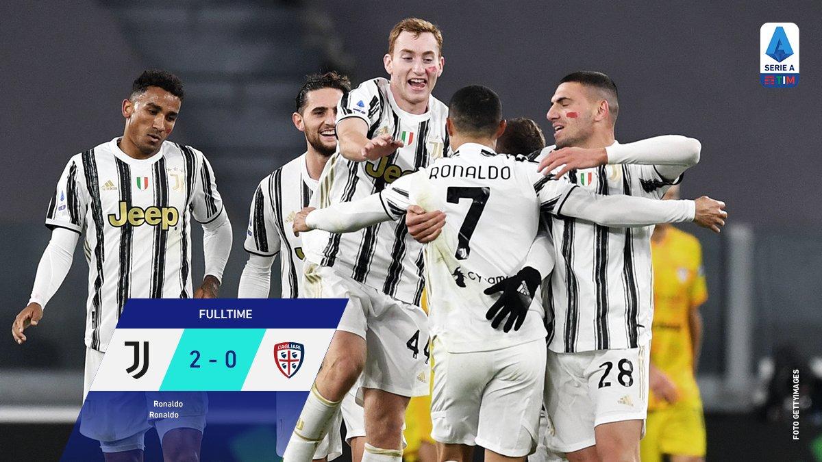 FULL TIME: #SerieA: JUVENTUS 2 vs 0 CAGLIARI. [38' 42' Cristiano Ronaldo] #JuveCagliari https://t.co/VmcYh5hWl3