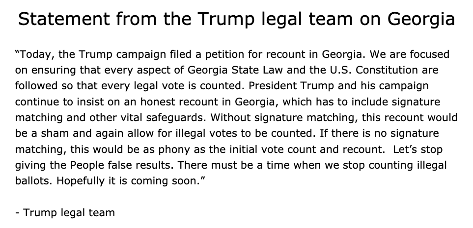Trump legal team files for recount in Georgia. Unlike Wisconsin, this one is taxpayer-funded.