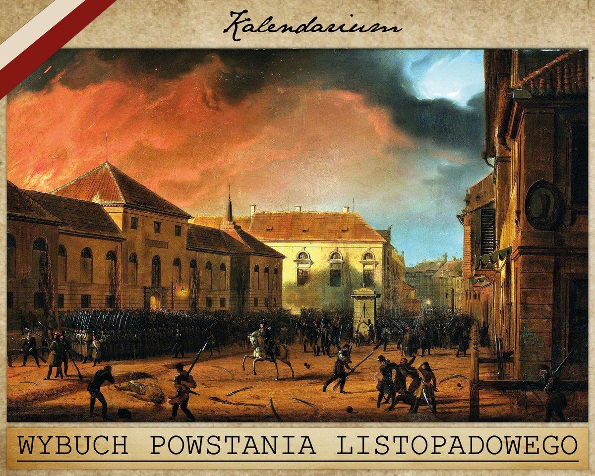 W nocy z 29 na 30 listopada 1830 r. w Warszawie wybuchło powstanie listopadowe skierowane przeciwko rosyjskiemu zaborcy, które trwało do 21 października 1831 r. 🇵🇱 ---- Kalendarium #233 https://t.co/2Lj6EGratu