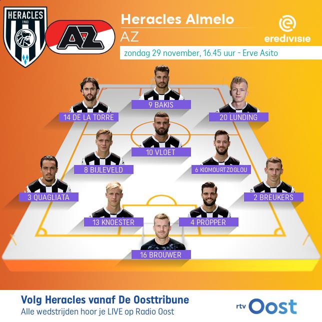 De opstelling van Heracles Almelo. Captain Pröpper staat een week nadat hij bij Ajax geblesseerd het veld verliet 'gewoon' in het hart van defensie. Lunding en Quagliata maken hun basisdebuut. https://t.co/cedmbIhnuW #heraz https://t.co/jAfoydth6o