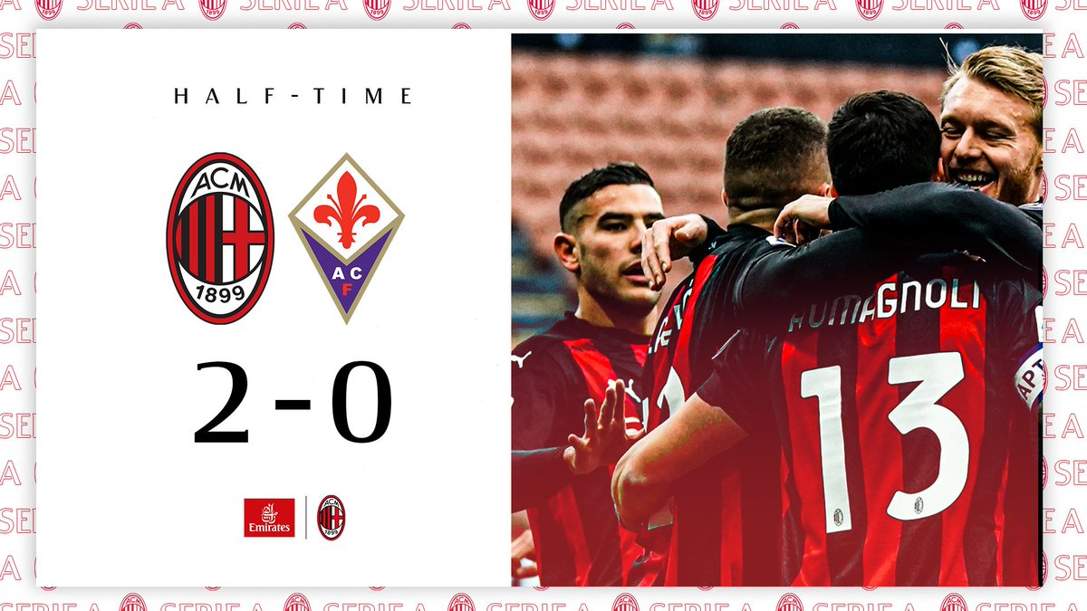 2 goal lead but no letting up after the break 👊  Doppio vantaggio all'intervallo 👊  #MilanFiorentina #SempreMilan @emirates