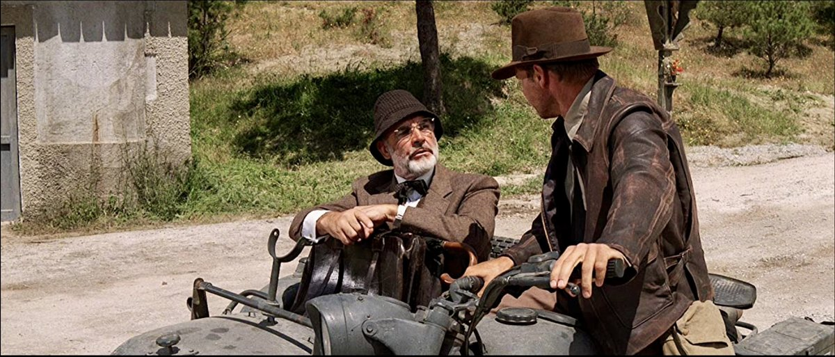 'Indiana Jones and the Last Crusade' (1989) has Indy on the quest for the Holy Grail. However, the highlight is having Sean Connery play Indy's father, as the excellent chemistry between him & Ford results in some wonderful character interplay. #movie #film #SeanConnery