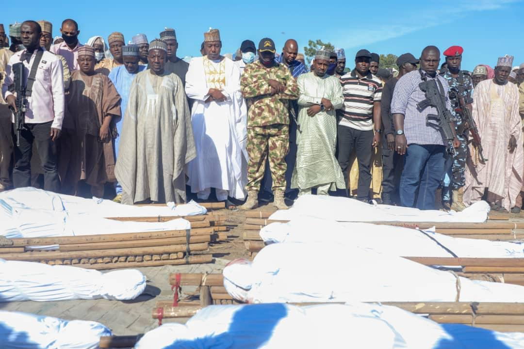 #ZabarmariMassacre: @ProfZulum leads horrified kinsmen to bury 43 farmers killed by Boko Haram   ... Death toll still uncertain  Governor of Borno State, Professor Babagana Umara Zulum was at Zabarmari early morning on Sunday, to lead kinsmen and other residents, still in shock,