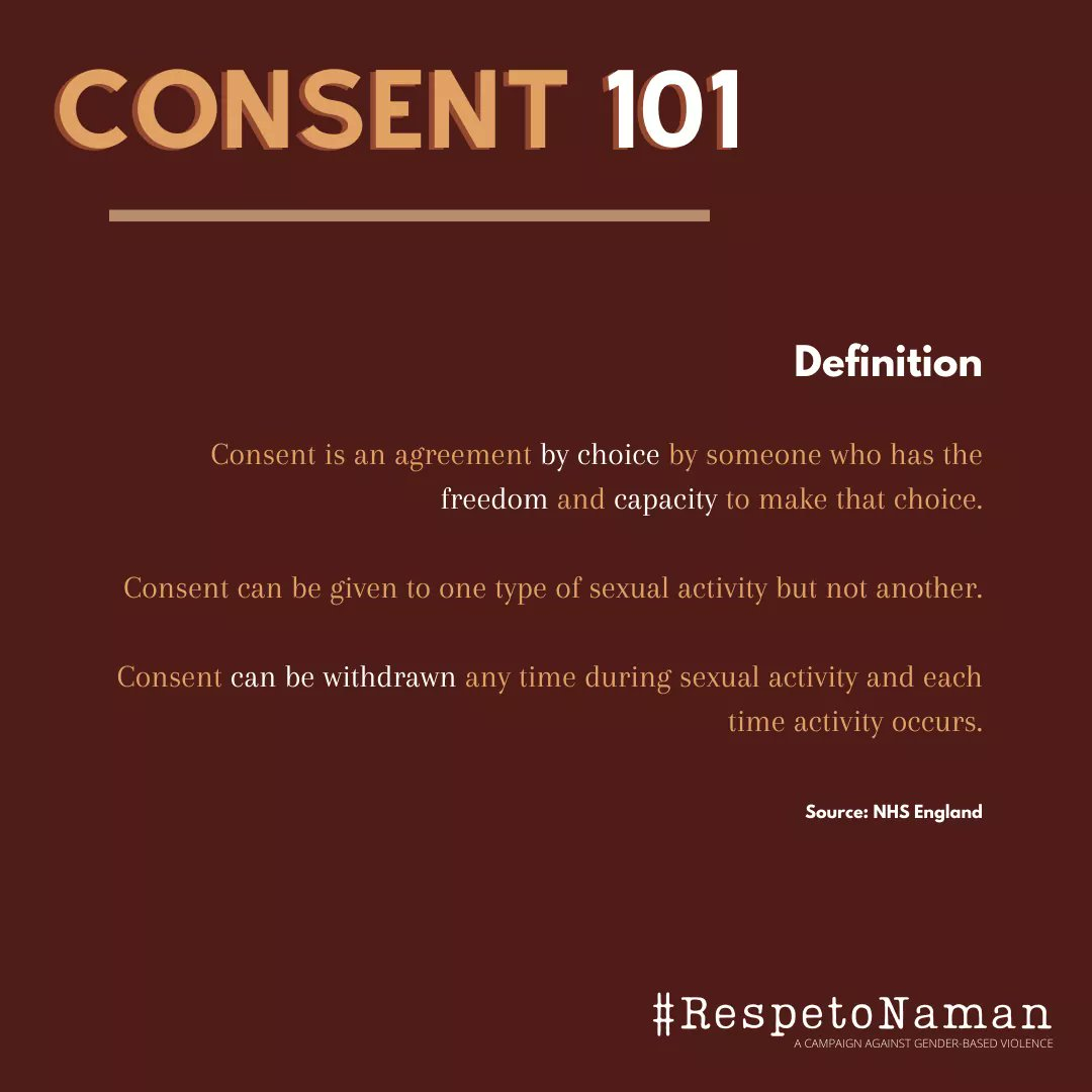 Let's talk about consent.   Before engaging in any type of sexual activity, it is important for you to communicate and to make sure both you and your partner are comfortable.   Respect each other's boundaries, #RespetoNaman.   #OrangeTheWorld #GenerationEquality #VAWfreePH