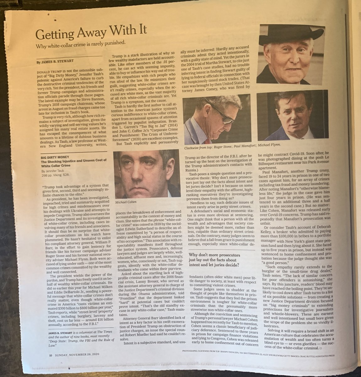 📌 Kvelling here. A glowing review by @JamesStewartNYT of BIG DIRTY MONEY appears in print in the New York Times Book Review on page 10 today, Sunday, November 29, 2020.   @nytimesbooks @VikingBooks