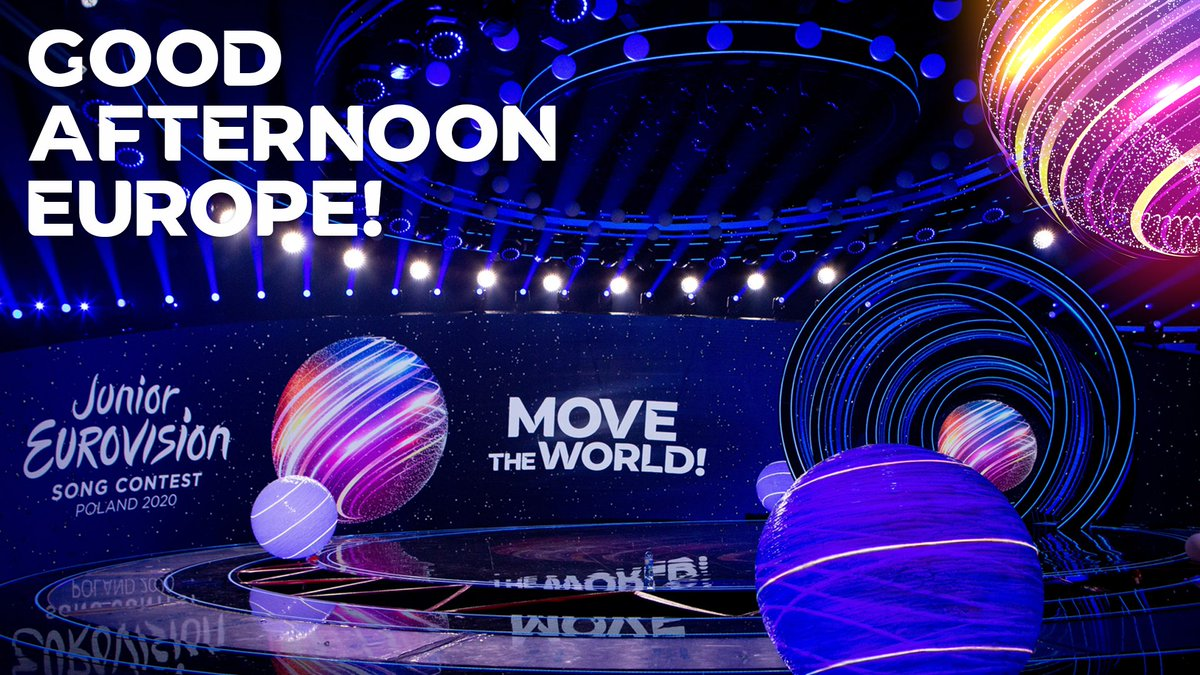 Good afternoon Europe! 😉  We couldn't let 2020 go by without a #Eurovision competition could we?! The @EurovisionJr Final is live from Warsaw today! 🥳  📺 https://t.co/5ABL20ZMjD ⏰ 17:00 CET  #MoveTheWorld https://t.co/Ty12UkKDRd