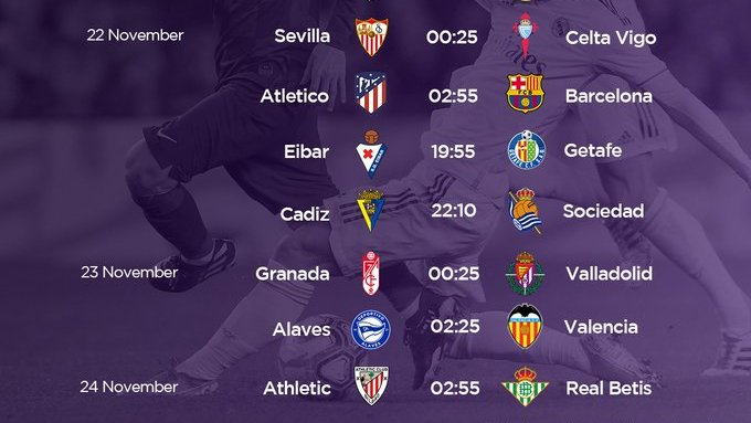 #TODAYMATCH #Laliga 20.00 Eibar vs Getafe 22.15 Cádiz vs Real Sociedad  00.30 Granada vs Real Valladolid 02.30 Alavés vs Valencia  Athletic Bilbao vs Real Betis https://t.co/30dqvbYZTe