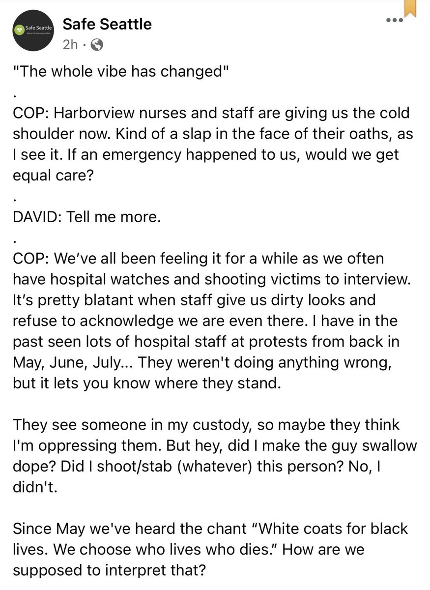 Seattle Police continue their pity party, claiming staff at Harborview Medical are being mean to them.   Everyone I know who works in the UW medical system right now has been through the most traumatic year of their lives. They shouldn't be expected to put on a show for police. https://t.co/yDrbusACsD