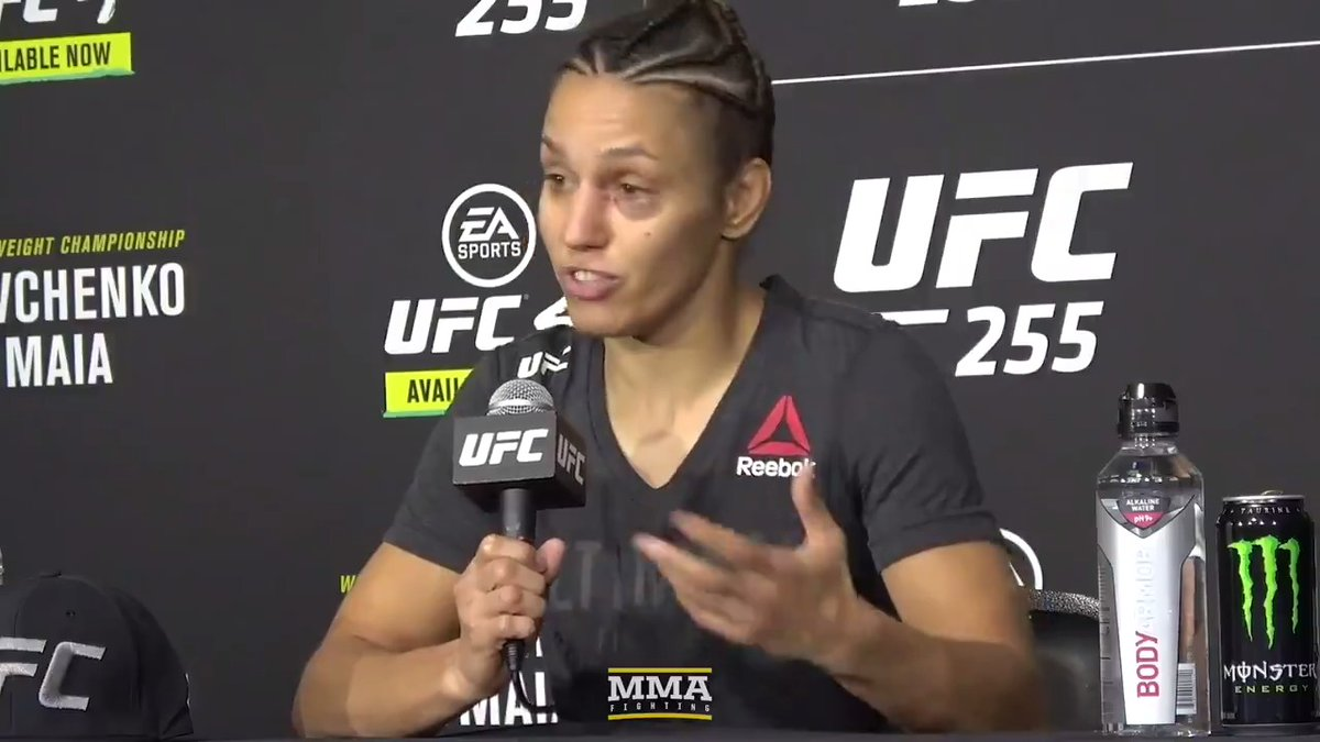 """.@AntoninaPantera says she felt """"more pressure"""" to win at #UFC255 because her sister @bulletvalentina was also fighting on the card.  Watch full video:"""